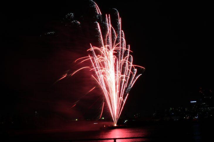 △この日は風があり、花火がススキの穂のようになびいていました。