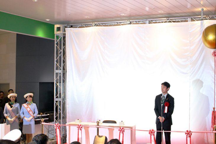 △JR東日本代表取締役副社長 深澤様のご挨拶の後、千葉市長のご挨拶がありました。