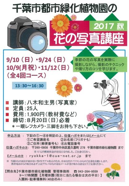 花の写真講座@千葉市都市緑化植物園<9/10(日)・24(日)・10/9(月祝)・11/12(日)>