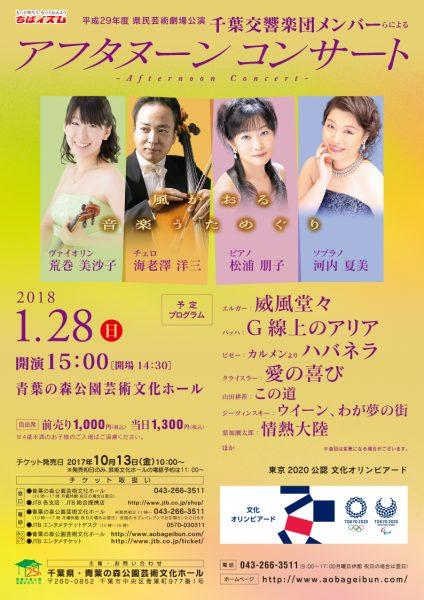 千葉交響楽団メンバーらによるアフタヌーンコンサート@青葉の森公園芸術文化ホール<1/28(日)>