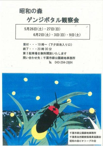 ゲンジボタル特別観察会2018@昭和の森<5/26(土)・27(日)、6/2(土)・3(日)・9(土)>