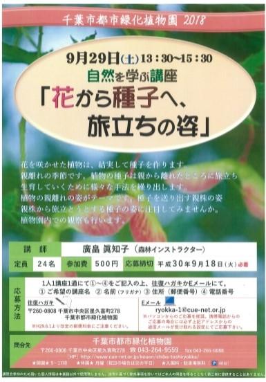 自然を学ぶ講座『花から種子へ、旅立ちの姿』@千葉市都市緑化植物園<9/29(土)>
