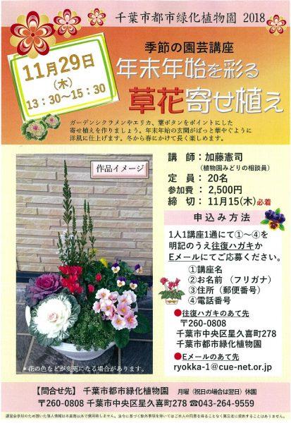 「年始年末を彩る草花寄せ植え」講座@千葉市都市緑化植物園<11/29(木)>