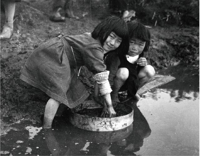 オオガハスの実の発掘作業をする子どもたち