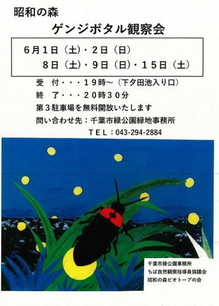 昭和の森ゲンジボタル観察会@昭和の森(花菖蒲園付近)<6/1(土)・6/2(日)・6/8(土)・9(日)・15(土)>