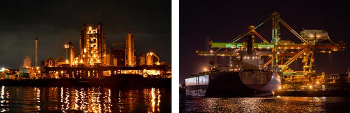 幻想の世界!海から眺める工場夜景