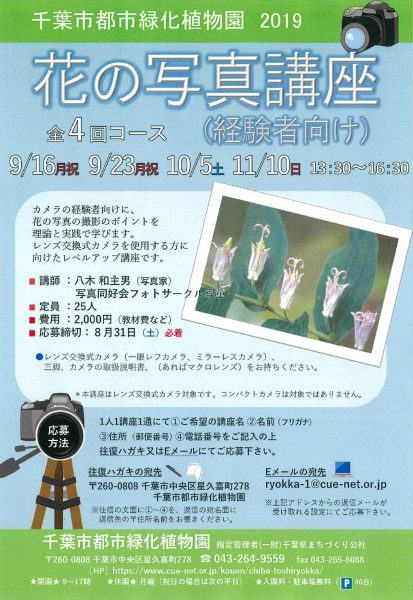 花の写真講座(経験者向け)全4回コース@千葉市都市緑化植物園<9/16(月・祝)・23(月・祝)・10/5(土)・11/10(日)>
